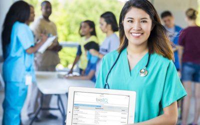 Nurse holding a tablet