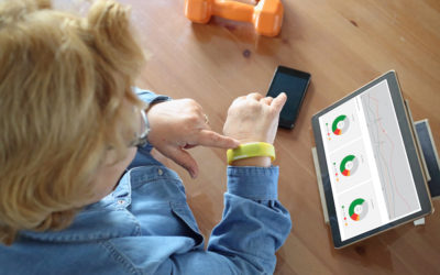 Senior woman using health technology